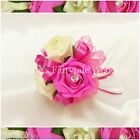 WEDDING FLOWERS GIRLS SMALL WAND SILK FOAM ROSES FUCHSIA PINK + OTHER COLOURS