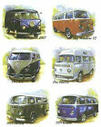 Set of 6 VW Camper Bus Van Automobile Select-A-Size Waterslide Ceramic Decals Tx image