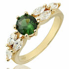 Green Emerald White 18K Gold Plated Lady Ring Fashion Jewelry Gift Size M O Q