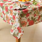 OLIVIA Large Floral Pink Orange Red Yellow Green Flowers Fabric Tablecloth NIP