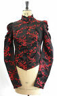 RED & BLACK BROCADE VICTORIANA STEAMPUNK FITTED JACKET 8 10 12 14 16 GOTHIC
