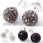 FASHION STYLE 6MM ROUND DISCO CRYSTAL BALL&WHITE SILVER PLATED STUD EARRINGS