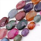 """15X20/17X24MM FACETED FLAT MULTI-COLOR CRACKED AGATE GEMSTONE BEADS STRAND 15"""""""