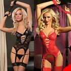 New Women's Sexy Lingerie Black Red Lace Dress+G string+Handcuff+Garter Belt B20