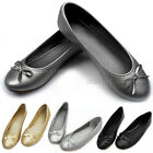 Ladies Womens Bow Flat Designer Dolly Shoes Ballet Ballerina Work Pumps Flats