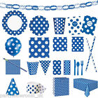 Blue Polka Dot Spots Spotted Party Supplies Tableware Decorations PS
