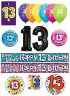 13th Birthday AGE 13 - Large Range of Party BALLOONS - Foil/Latex/Airfill/Helium