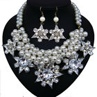vintage antique styl jewellery pearl rhinestone flower bib necklace earrings set