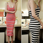Sexy Backless Wonmen Girl Summer Spaghetti Strap Scoop Neck Striped Skinny Dress