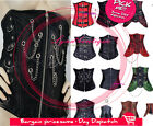 Sexy Goth Corset Satin&Faux Leather Lace Up Boned Waist Cincher Underbust Tops