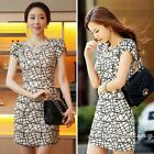 New Women Short Sleeve Geometric Print Slim Casual Party Club Sheath Mini Dress