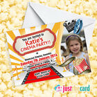 Personalised Kids Cinema Party Invites - Movie Night Film Party Cinema Theme