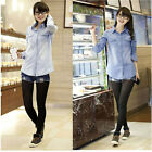 Retro Womens Blue Vintage Jean Blouse Denim Shirt Long Sleeve Loose Long Top