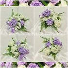 SILK WEDDING FLOWERS/PROM PIN-ON LADIES CORSAGE FOAM ROSES SWEET LILAC & IVORY