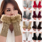 Womens Ladies Faux Rabbit Fur Winter Wrist Cuff Hand Warmer Fingerless Gloves