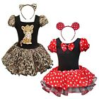 2pcs Girls Kid Minnie/Leopard Tutu Skirt Dress Headband Dance Party Costume 1-10
