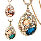 vintage antique jewellery gold gp rhinestone glass crystal pendant long necklace