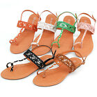 Womens Slingback Sandals T Strap Toe Ring Thong Braided Gold Band Spring Resort