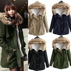 Womens Winter Thicken Fleece Fur Collar Coat Jacket Parka Hooded Trench Outwear