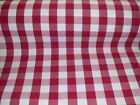 Fryett's Large Gingham Check Red Cotton Fabric You Choose Size NEW