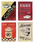 Vintage Retro Novelty 1950's Wall Hanging Metal Plaque Signs Coffee Latte Eggs