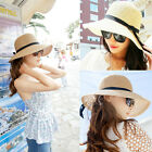 Fashion Women's Summer Beach Sun Hat Straw floppy Brim Elegant Bohemia cap