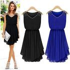 Summer HOT Women Sleeveless Chiffon Diamond Pleated Cocktail Party Mini Dress LD