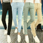 Men's Korean Stylish Pencil Pants Dress Casual Slim Trousers Slacks Solid Color