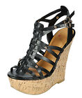 Womens Cork Wedge Sandals Platform Heel Strappy Ankle Wrap Comfy Shoes Peep Toe