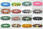 Pretty 12mm/14mm Jade & Agate Stone Gemstone Round Bead Stretchy Bracelets 8""