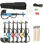 New 4/4 Basswood  Electric Silent Violin w/ Bag Bow Rosin Power Cable Earphone