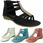 GIRLS DIAMANTE GLADIATOR SANDALS FASHION SUMMER KIDS PARTY INFANT WEDGE SHOES UK