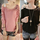 Women's Long Sleeve Crew Neck Floral Crochet Knit Casual T-Shirt Top Sweater M L