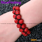 Fashion Jewelry Bracelect Double-lined Cz Crystal Ball 20 Bead Handknit Cord