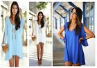 Women Sexy  Loose Round Neck Strapless A-line Casual Skirts Mini Summer Dress-S