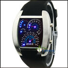 Popular Sport Men RPM Turbo Blue & White LED Watch Gift Sports Car Meter Dial