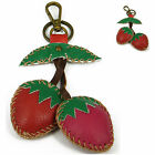 """Handmade"" Leather Food & Drink Key Ring Keychain Bag Charm Strawberry fca9"