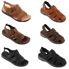 Leather Soft Sole Classic Mens Boys Closed Toe Summer Velcro Sandals Size SK