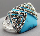 Fashion Women's Blue Turquoise 925 Sterling Silver Marcasite Ring Size 7/8/9/10