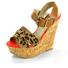 Cork Platform Wedge High Heels Open Toe Sandal Ankle Strap Womens Delicious Shoe