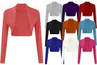 Ladies Long Sleeve Jersey Bolero Womens Maxi Dress Cover Up Shrug Top Sizes 8-22