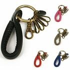 """Handmade"" Simply Leather Strap Brass Key Ring Keychain Hook Clasp fga5"