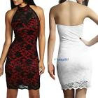 Womens Fashion Contrast Lace Backless Prom Wedding Formal Evening Party Dress BS