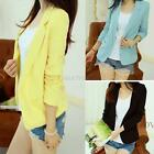 Women Korean Solid Slim Suit Blazer Coat Jacket Long Sleeve Cardigan Outwear Hot