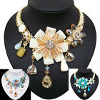 vintage antique jewellery glass crystal rhinestone flower choker bib necklace