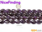"""Oval Faceted Amethyst Natural Stone  Jewelry Making Beads Strand 15""""  Size Pick"""