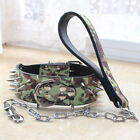 Gray Leather Medium Large Breed Spiked Studded Dog Collar Chain Leash SET Bully