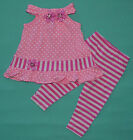 NEW Baby Girl Cotton Pink and White Dot Dress Set Size 0000,000,00,0,1,2