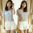 Twinset Short Sleeve Stripes Lips Women's Suit Blouse Shirt Top Shorts Hot Pants