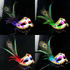 Easy to Carry 6 Color Peacock Feather Masquerade Mardi Gras Mask JRUK
